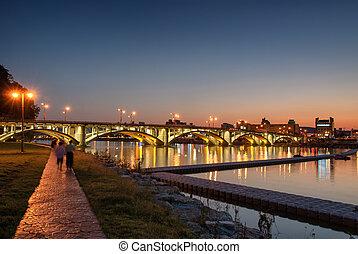 riverside park in JINJU city - night view of riverside park...