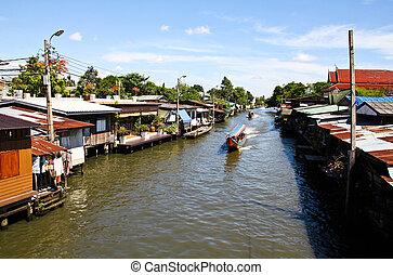 riverside, residencial, em, tailandia