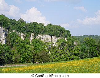 Danube river - riverside scenery around Mount Michelsberg at...