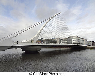 Dublin - riverside scenery in Dublin with Samuel Beckett...
