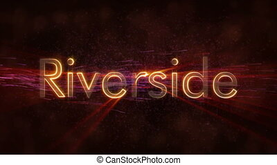 Riverside - Shiny looping city name text animation -...