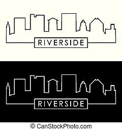 Riverside skyline. Linear style. Editable vector file.