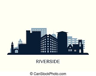 Riverside skyline, monochrome silhouette. Vector...