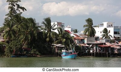 Riverside Time Lapse Clip River Cai Nha Trang Vietnam
