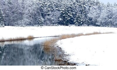 Riverside winter landscape at Houtskari island, Finland