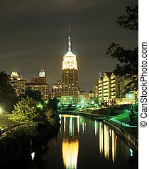 View along the Riverwalk at night, San Antonio, Texas, USA.