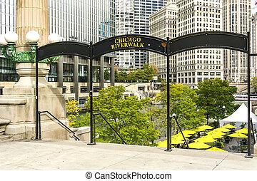 riverwalk, chicago, señal
