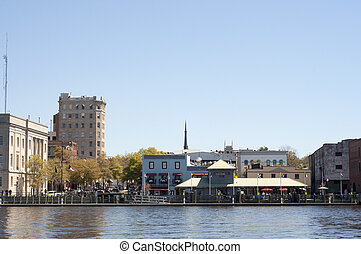 Riverwalk in Downtown Wilmington, NC USA on a Clear Day.