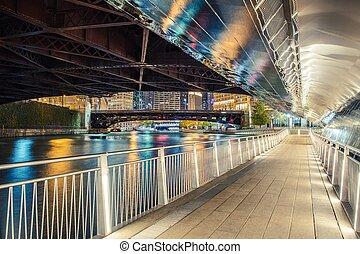 riverwalk, nuit, chicago