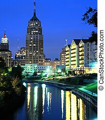 Riverwalk, San Antonio, USA. - View along the Riverwalk at...