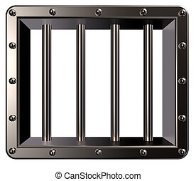 prison - riveted metal prison window - 3d illustration
