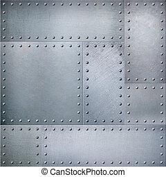 rivets, punk, métal, texture, vapeur, fond, plaques, ou