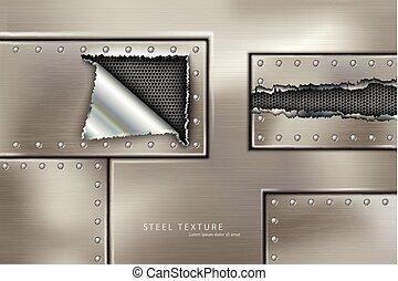 rivettare, acciaio, chiodi, e, viti, metallo