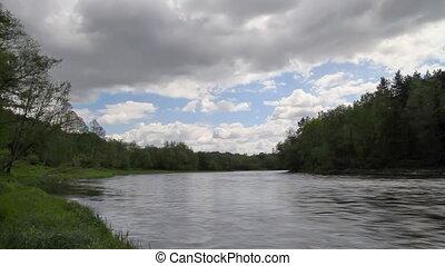 rivière, été, timelapse