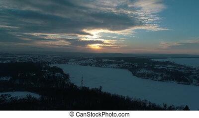 rivière, aérien, hiver, vue