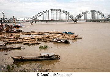 rivière, activités, ayeyarwady, port