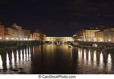 rivière arno, florence, nuit