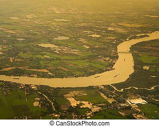 rivière, au-dessus, vue