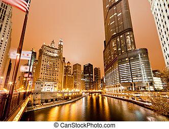 rivière, bâtiments, haut-ascension, long, chicago