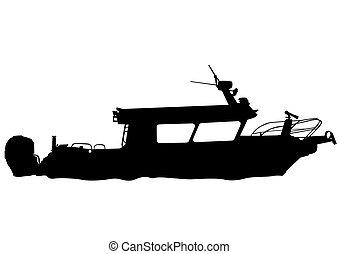 rivière, bateau moteur