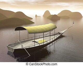 rivière, -, bateau, render, 3d