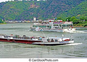 rivière, bateaux, rhin