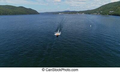 rivière, bay., baikal., bourdon, bateau, lac, aérien, navigation moteur, sommet, vedette, vue, eau