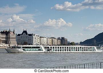 rivière, budapest, danube, long, croisière