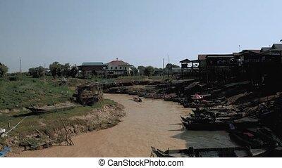 rivière, cambodge, bourdon, vol, lac, coup, sur, tonle, ...