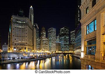 rivière, chicago, crépuscule