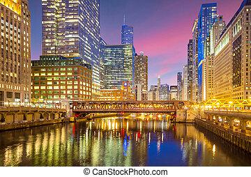 rivière chicago, en ville