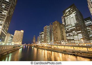 rivière, chicago, nuit