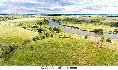 rivière, collines, paysage