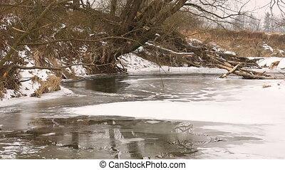 rivière, couche, poodri, hiver, delta, oder, forêts, glace, neige, intérieur, rivière, wetland, écoulement, petit, couvert, floodplain, prés, odra