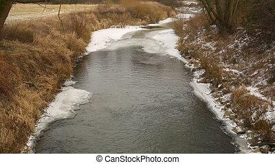 rivière, couche, poodri, hiver, endroits, delta, oder, forêts, glace, neige, intérieur, rivière, wetland, écoulement, petit, couvert, floodplain, prés, odra
