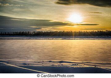 rivière, coucher soleil, hiver
