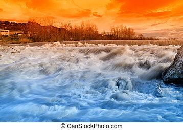 rivière, dans, les, coucher soleil