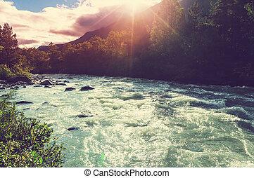 rivière, dans, norvège