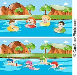 rivière, enfants, deux, scènes