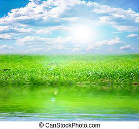 rivière, et, ciel