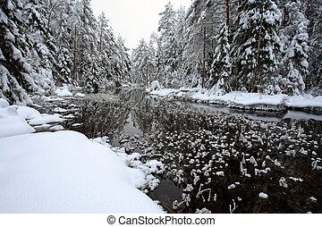 rivière, et, givre