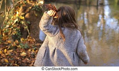 rivière, feuilles, peu, curieux, lancement, branches, girl