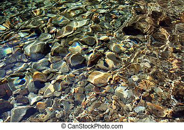 rivière, fond, rochers