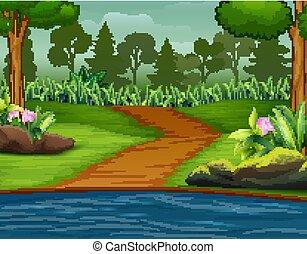 rivière, fond, route, forêt