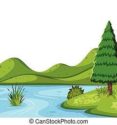rivière, gabarit, nature