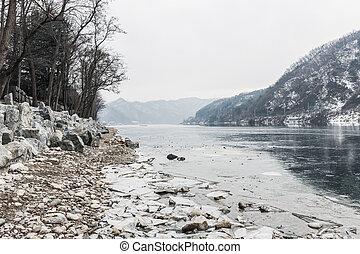 rivière, glace hiver
