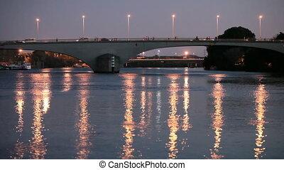 rivière, grand, sur, pont