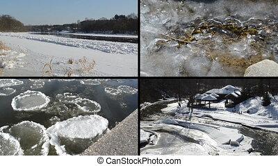 rivière, hiver, collage