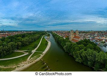 rivière, isar, authentique, munich, germany., au-dessus, sur, barvaria, vue