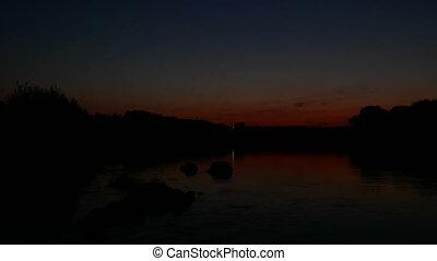 rivière, lac, levers de soleil, matin